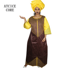 African bazin embroidery design long dress with scarf