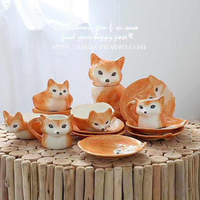 Excellent Online Shop Foreign Little Fox Ceramic Home Decoration Porcelain Ornaments Healing Art Tableware Pastoral Meng Meng Small Animals Aliexpress