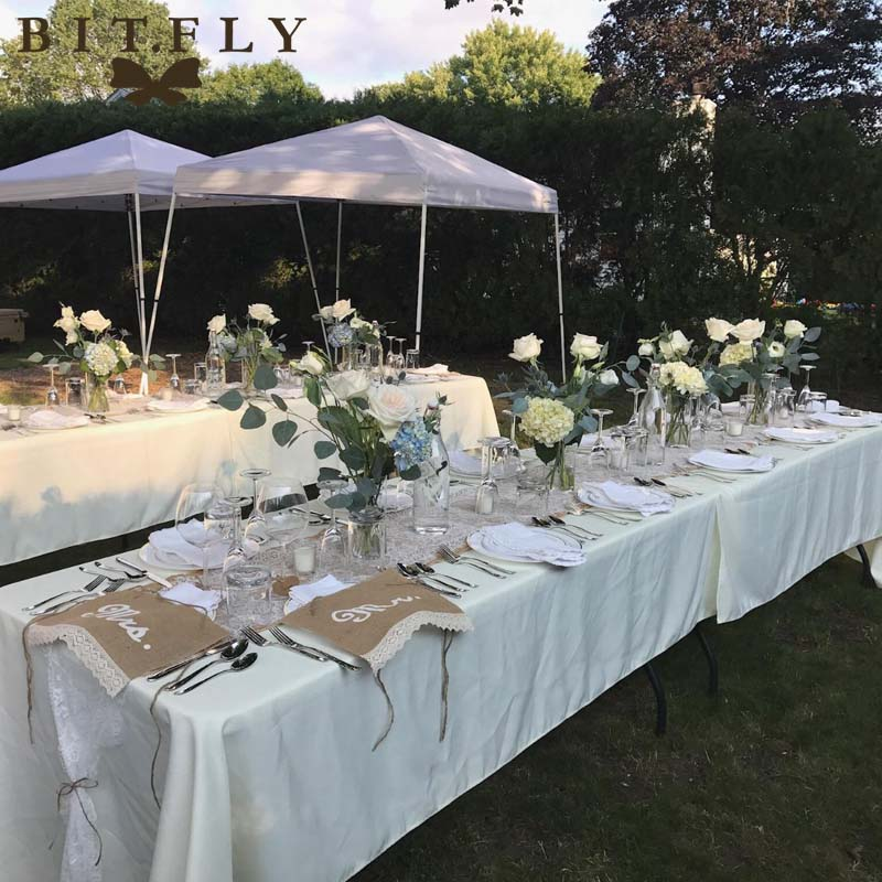 10pcs rectangle Satin Tablecloth Table Cloth Cover Wedding birthday party Christmas Banquet hotel Restaurant DIY Decor whi white-in Party DIY Decorations from Home & Garden    1