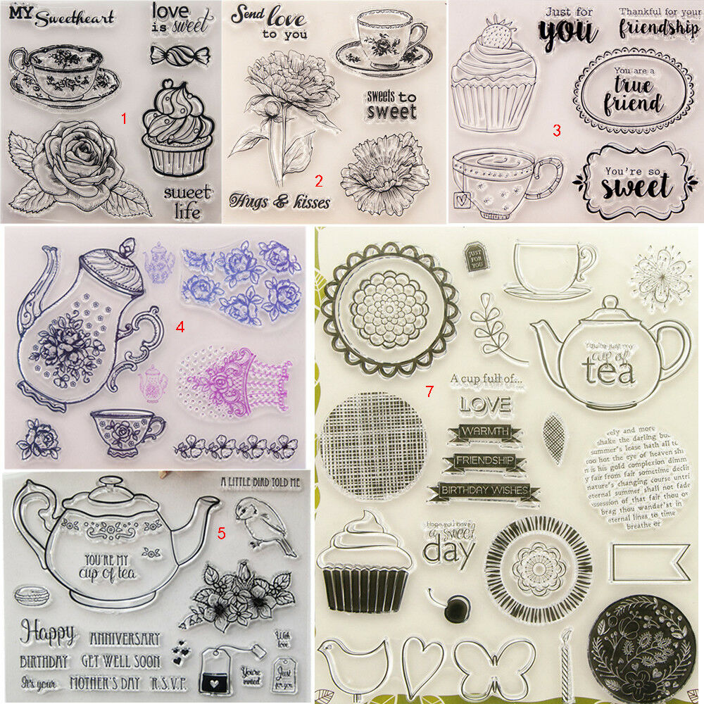 Happy Hour Transparent Silicone Clear Stamps DIY Scrapbook Embossing Card Art Coffee Tea Teapot Milky Tea Set Case Rose