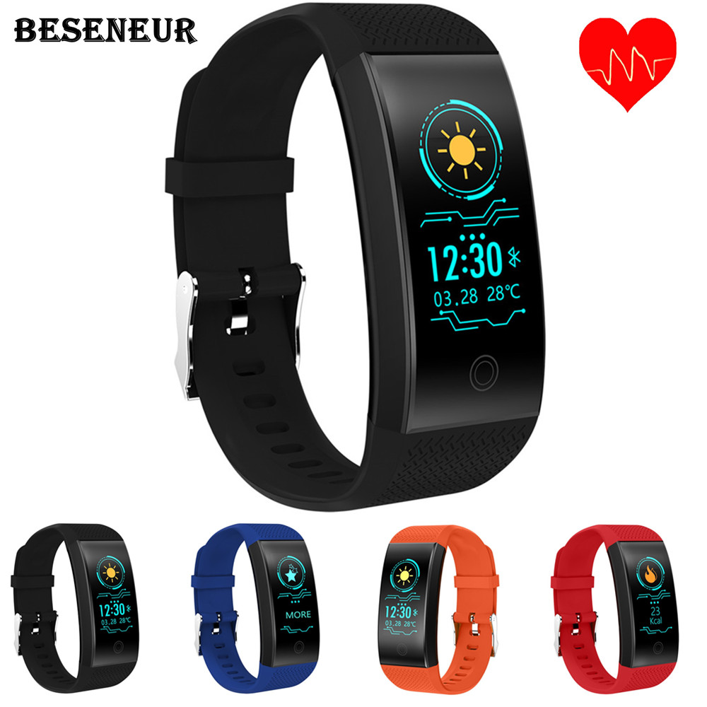 Beseneur QW18 Smart Bracelet Heart Rate Monitor IP68 Waterproof Color Screen Fitness Tracker Band Bluetooth 4