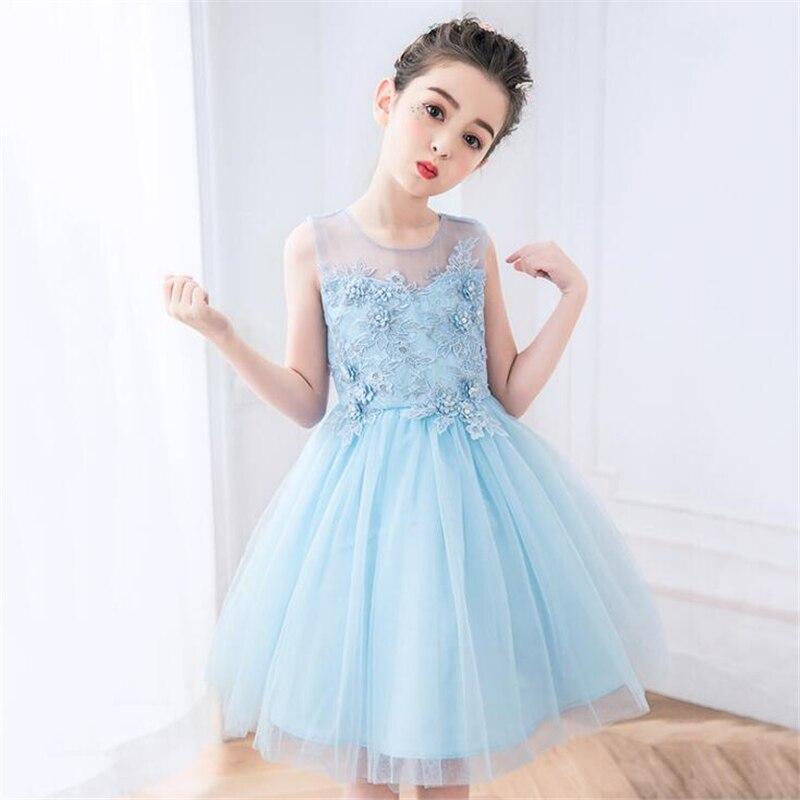 Princess Dress 2018 New Arrivals Summer Children Wedding Dress Performing Dress Sundress Girl Party Dresses For 4 14T