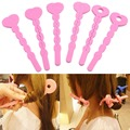 U119 6Pcs Fashion Sponge Spiral Curls Roller DIY Salon Tool Pink Soft Hair Curler New