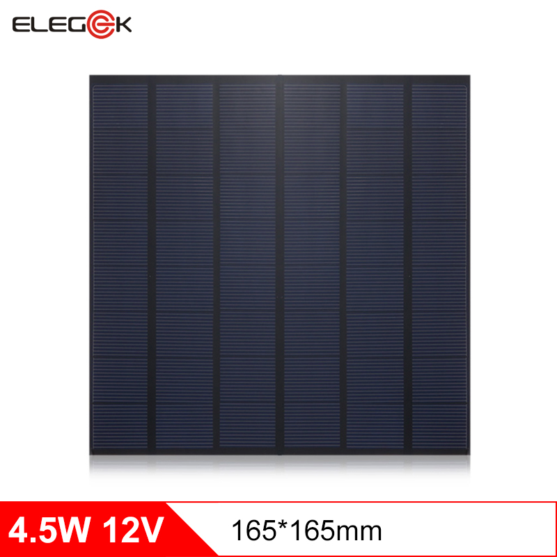 ELEGEEK 4.5W 12V Polycrystalline Mini Solar Panel forCharging Power Bank 370mAh Solar Panel 12V for DIY 165*165mm
