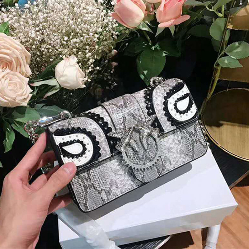 13 Color Genuine Leather Swallow Bag Python Pattern Diamond Lace Chains Shoulder Bag Famous Brand Women Handbag Original Quality