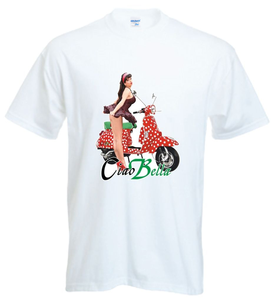2018 New Tee shirt Summer Fathers Day Ciao Bella Retro Classic Classic Scooter Pin Up Girl Summer T-Shirt Fun T-Shirt