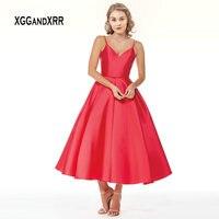Элегантное красное платье для выпускного вечера длиной до колен, 2019, v образный вырез, двойной ремень, сексуальная Пышная юбка с открытой спи
