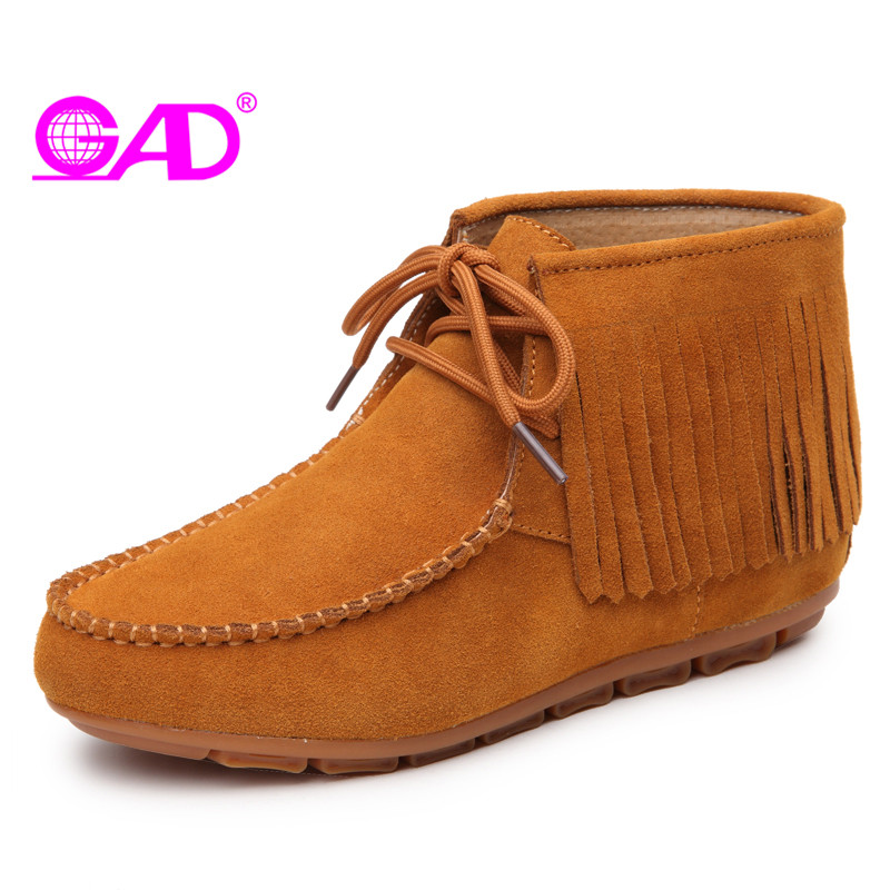 GAD Women Boots 2017 Spring/autumn Fashion Fringe Lace-up Women Ankle Boots High Quality Cow Suede Comfortable Women Shoes Boots