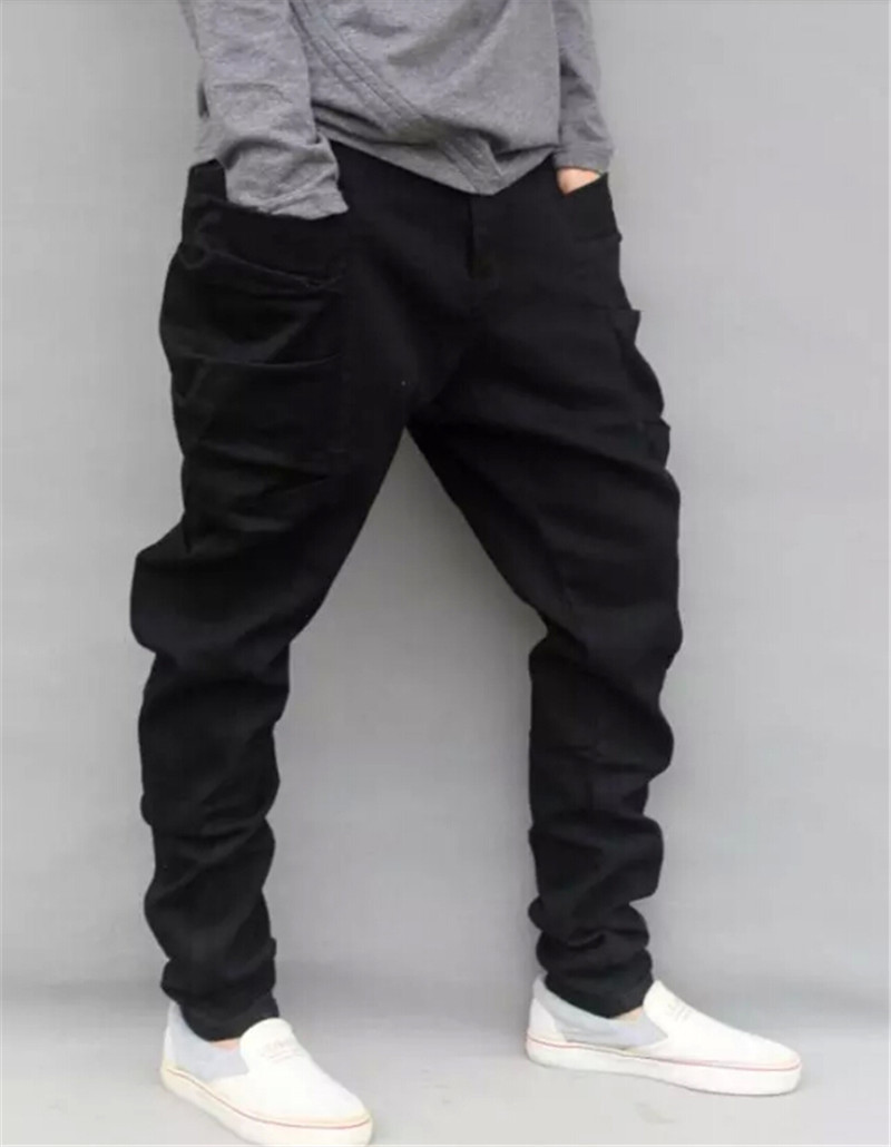 ФОТО Retail Mens Loose Fit Harem Jeans Fashion Plus Size S-4XL Male 2014 Loose Jeans British Style Denim Harem Jeans Pants For Men