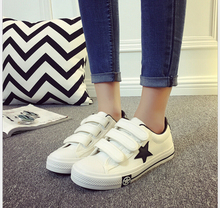Spring Summer Woman  Breathable shoes white canvas shoes female low to help  Hook&Loop student casual shoes size #35-40