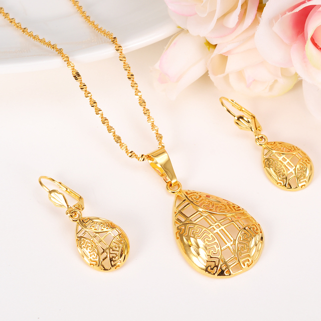 Jewelry sets Elegance Necklace Earrings Fine 24k Real Solid Yellow