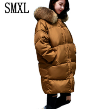 smxl Cloak extremely hold heat Wadded Jackets Parkas new white Down Jacket free thick Winter Women Hooded Coats giant Fur collar