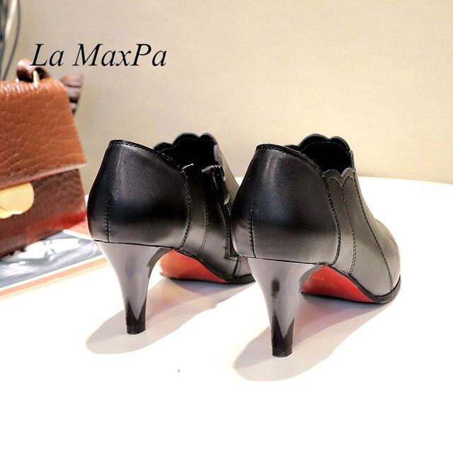 2019 Kadın Çizmeler Siyah yarım çizmeler Kadınlar Için Roma Tarzı Sivri Burun Bahar kadın ayakkabısı Boyutu 35-40 Botas Mujer yüksek topuklu