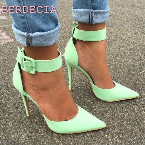 light green leather pointed toe pumps single buckle woman sheos high quality elegant ladies shoes stiletto heel pumps on sale колонка interstep sbs 150 funny bunny light green