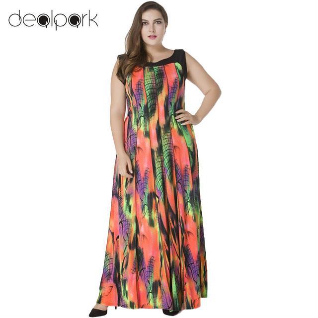 Women Plus Size Bohemian Long Dress Sleeveless Print Casual Loose