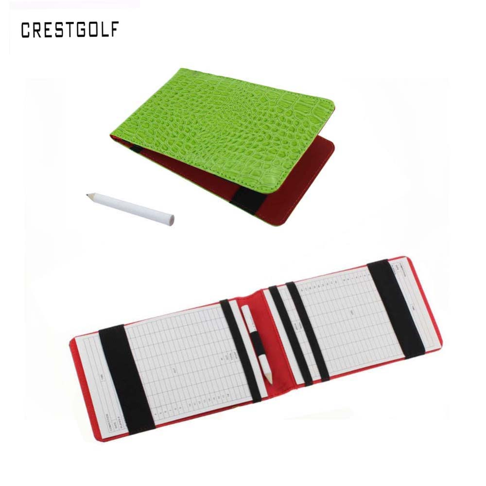 CRESTGOLF Promotion Price Popular Golf Score Card Holder Easy Carry Golf Gifts With Green And Black For Choice Genuine Leather