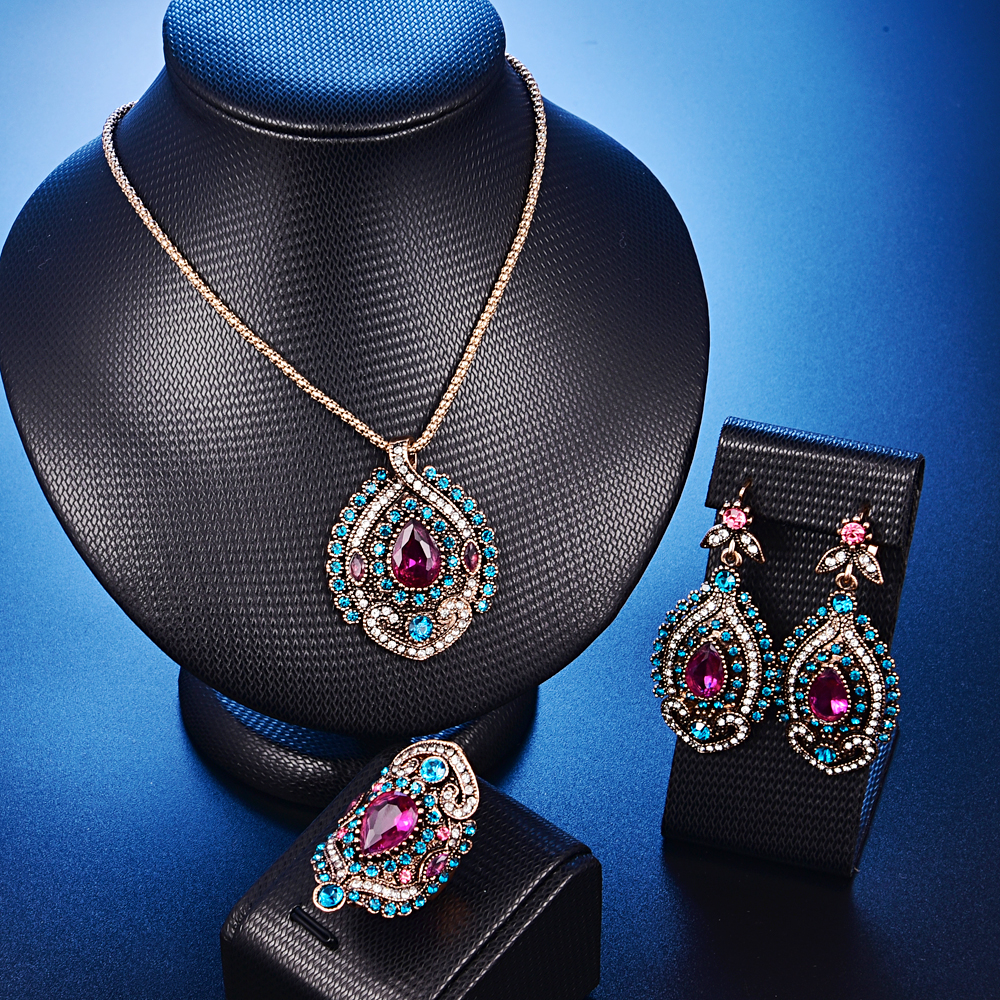 Luxury Geometric Pendant full Multicolor Crystal Necklace Ring Set Jewelry Fashion Bridal Wedding Vintage Jewelry Sets for Women