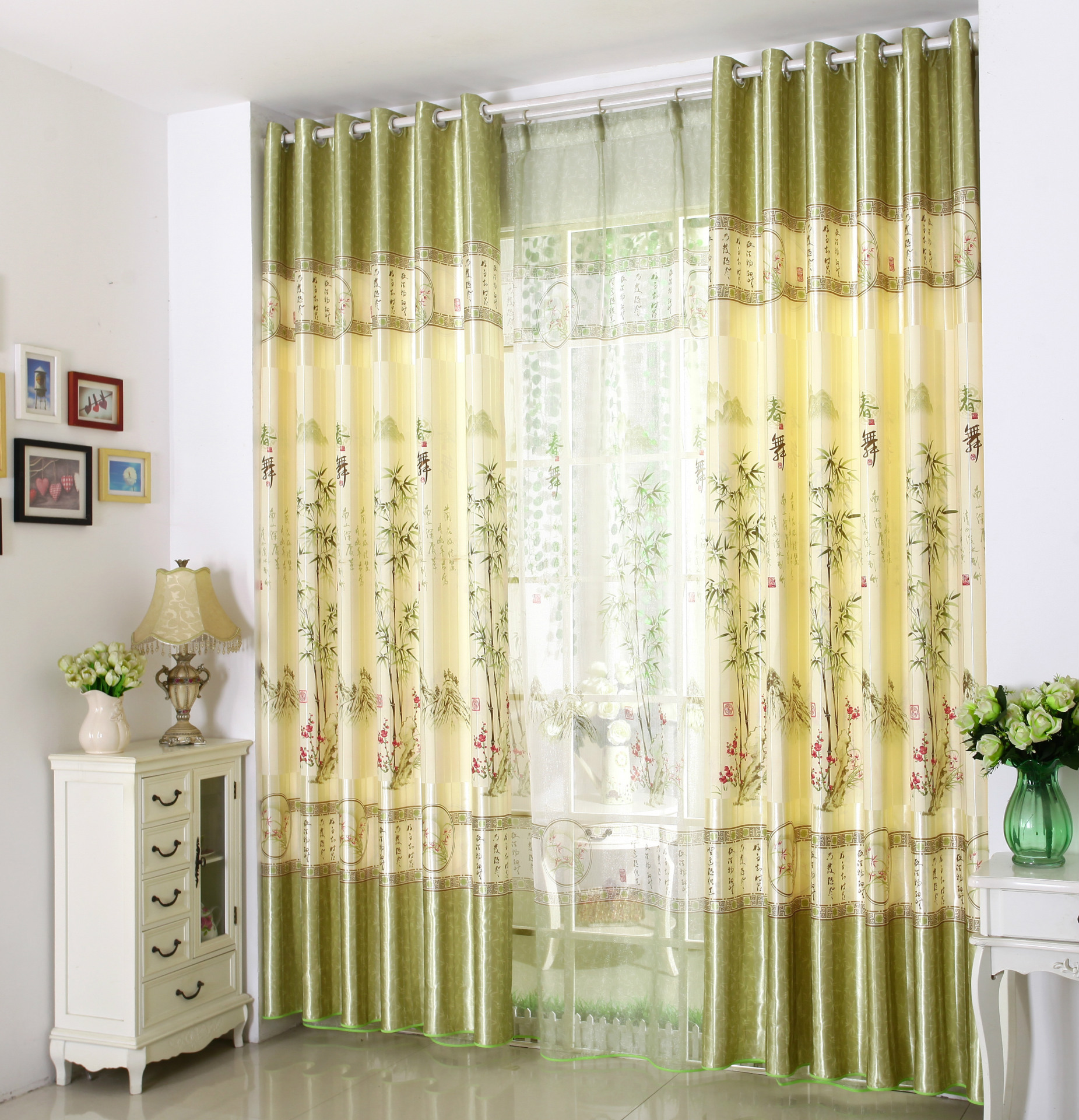 Traditional Curtains Classic Traditional Curtains For Living Dining Room Bedroom Printing Chinese Pastoral Shading Plant Curtains For Home Decoration In Curtains From Home