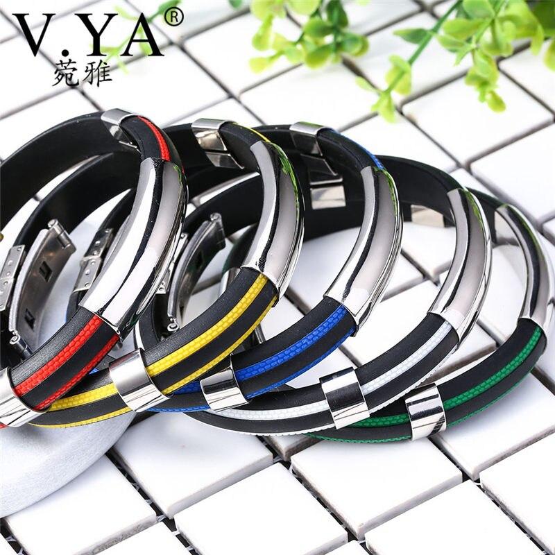 V.YA Stainless Steel Personalized Name Bracelets For Women Men Engraved ID Bracelet & Bangles Customized Logo Jewelry For Women