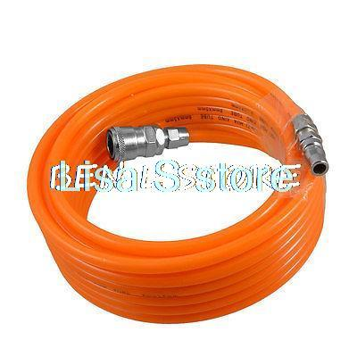 Pneumatic Polyurethane Tube Orange PU Hose Pipe 8mm x 5mm w Quick Connector air pu hose pipe tube pneumatic compressor 8 5 5mm polyurethane flexible tubes quick connector fitting 10m 15m 20 meters
