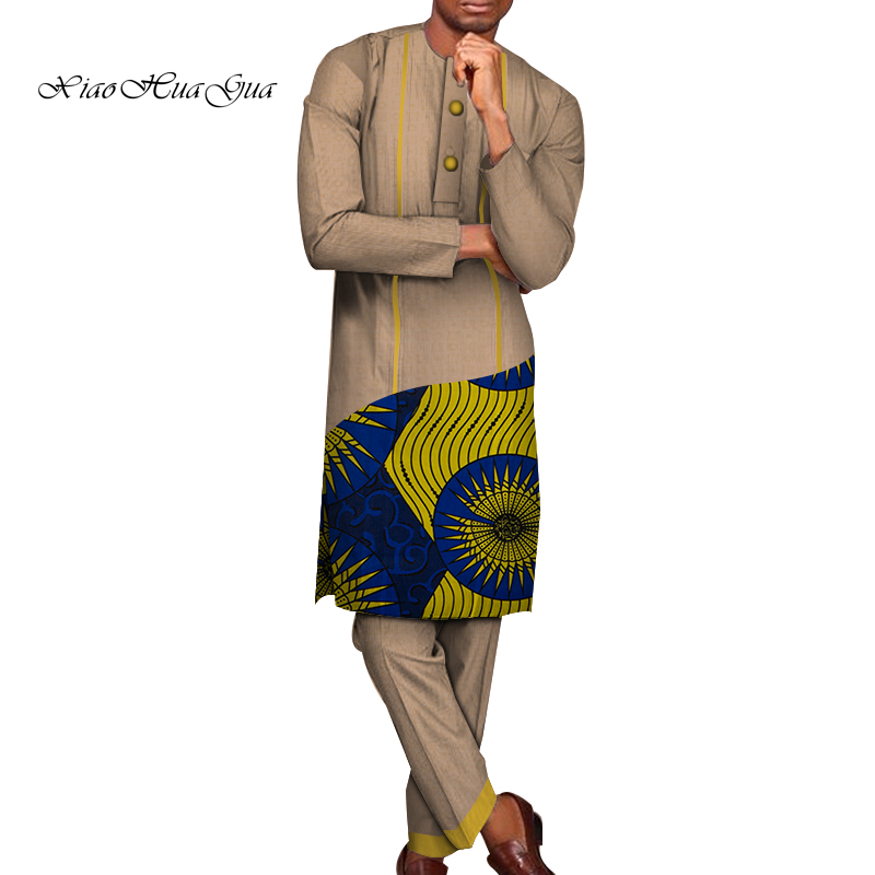 Traditional African Print Dashiki For Men Casual Top Shirts And Trousers Pant Set Plus Size African Clothing Men Set WYN783