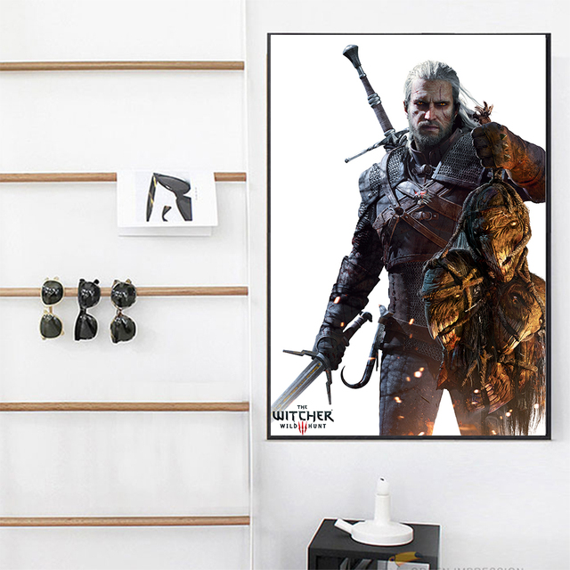 WANGART the Witcher 3 Canvas Print Hunting Wild Game Cirilla Geralt Wall Pictures for Living Room Modern Home Decor JY617-625 1