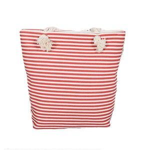 فتاة عارضة الصيف قماش للمتسوقين مخطط الشاطئ أكياس سعة كبيرة حمل النساء السيدات عارضة حقيبة تسوق بولسا