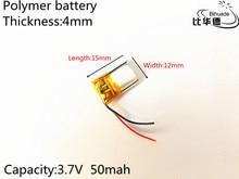 10pcs 3.7V 50mAh 401215 Lithium Polymer Li-Po li ion Rechargeable Battery cells For Mp3 MP4 MP5 GPS PSP mobile bluetooth