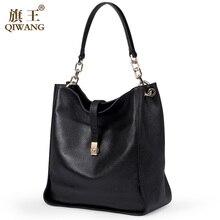 Qiwang Noir DOUX Véritable Cuir Femmes HOBO Sac En Cuir Or Logo Épaule Travail Sac À Main C Femmes Seau Sac Chaîne Sac À Main élégant