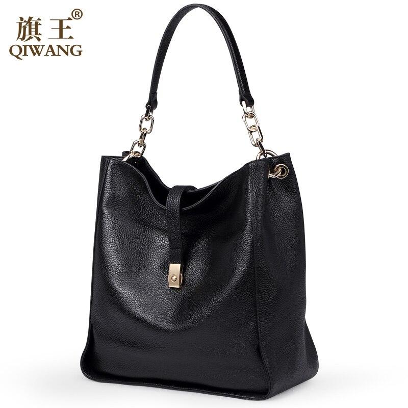 Qiwang Brand Genuine Leather Women Black Hobo Bag Women Designer Leather Handbag Real Leather Bucket Bag Chain Purse Amazon Sale