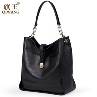 23680e93a9 Qiwang Brand Genuine Leather Women Black Hobo Bag Women Designer Leather  Handbag Real Leather Bucket Bag