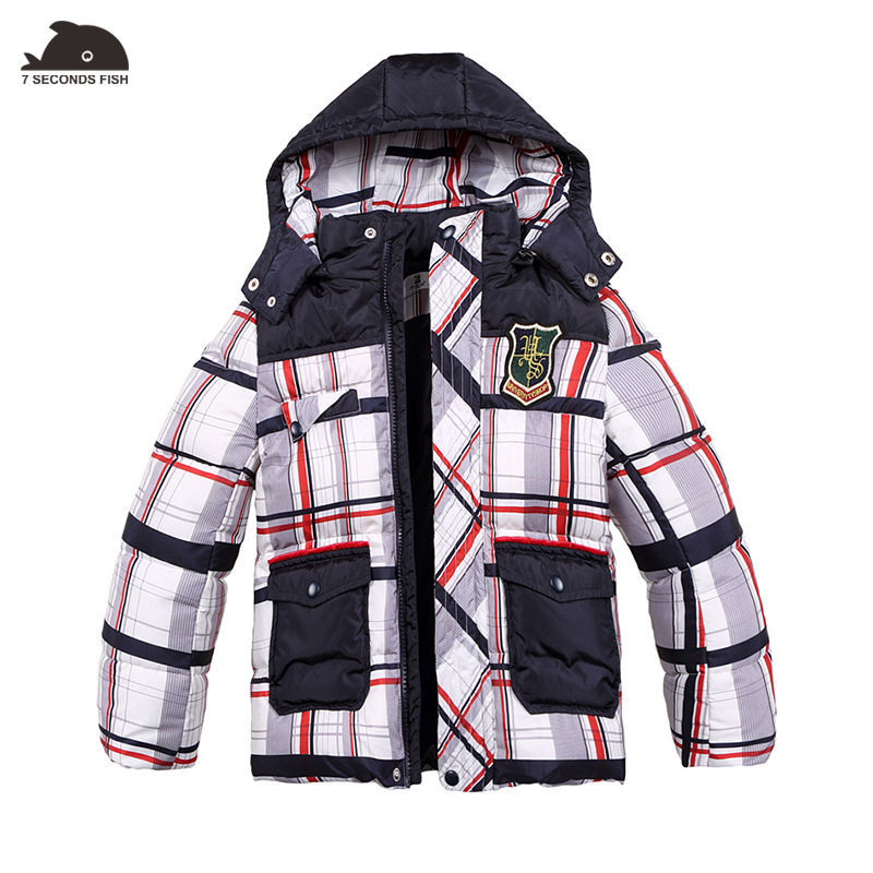 boys Down Coat winter jacket Plaid detachable hooded White Duck Thick Parkas kids winter jacket Superior quality -20/-30