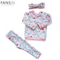 FANSIN Invierno Baby Girl Clothing Set Niños de Manga Larga Floral Grueso Tops Shirts + Pants + Tocado Niños Blusa Ropa trajes