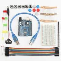 Hot New 1set New Starter Kit UNO R3 Mini Breadboard LED Jumper Wire Button For Arduino