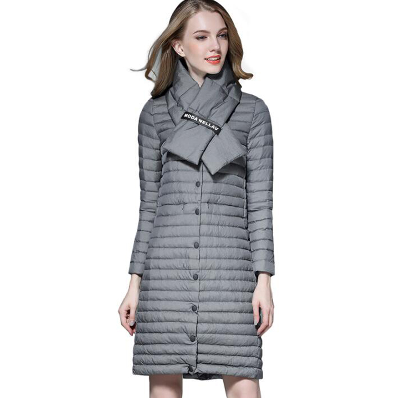2018 Winter Plus Size With Scarf Long Women   Down   Jackets Ultra Light White Duck   Down     Coat   Thin Slim high quality Puffer Jacket