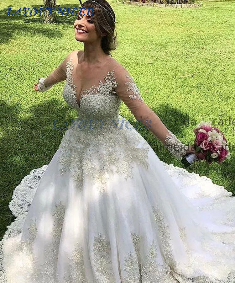 Vestido de Noiva Long Sleeves Vintage Wedding Dress 2019 Lace Appliques Gelinlik Chapel Train Bride Dress
