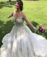 Vestido de Noiva Long Sleeves Vintage Wedding Dress 2019 Lace Appliques Gelinlik Chapel Train Bride Dress