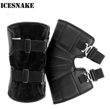 ICESNAKE Motorcycle Knee Pads Protector Genuine Leather Winter Warm Cycling Windproof Motocross Knee Warmer Protector