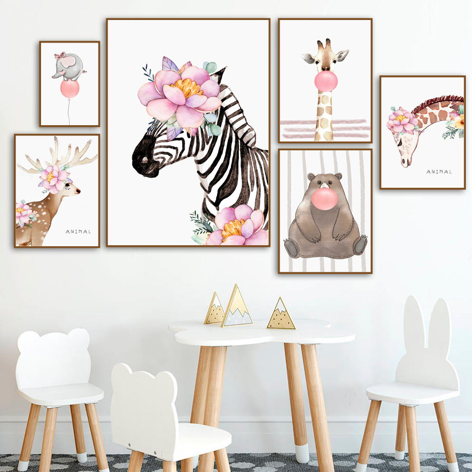 Deer Bear Zebra Elephant Giraffe Flower Balloon Wall Art Canvas Painting Nordic Posters And Prints Pictures Kids Room Decor