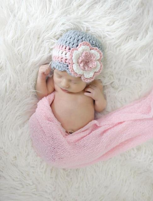 adb0267c8d6 Crochet Newborn Girl Hat Hand Crochet Knitted Baby Hat Flower Pink Photo  Prop Girl Cotton Newborn