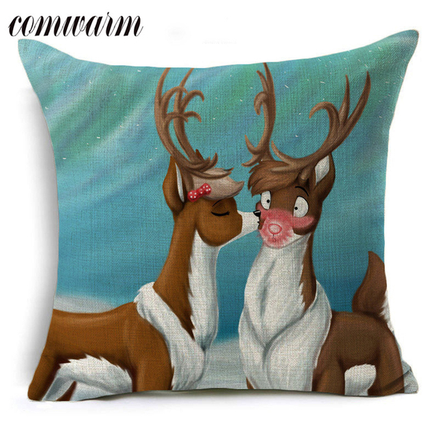 Comwarm Comfortable Modern Living Room Dining Chair Pillows Cases Cristmas  Cute Bulldog Deer Owl Pattern Throw