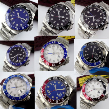 цена New Arrival 43mm Bliger Sterile Dial Sapphire Glass Super Luminous no logo Top Luxury Brand GMT Automatic movement men's Watch онлайн в 2017 году
