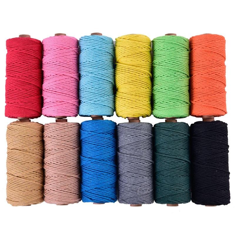 3mmx110yards 100% algodón cordón colorido cuerda Beige trenzado macramé artesanal DIY textil hogar suministro decorativo