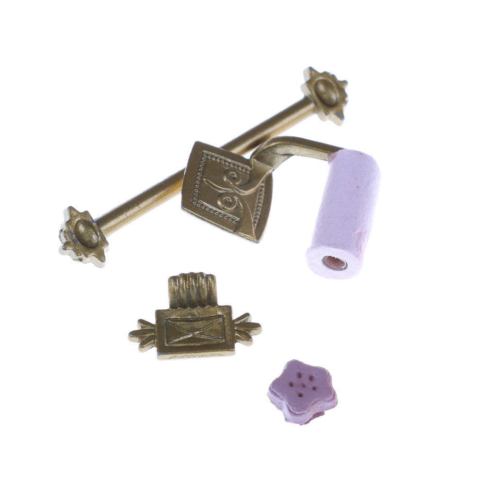 Miniature Dollhouse Metal Towel Bar /& Toilet Paper 1:12 Scale