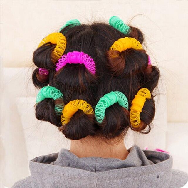 16 יחידות שיער סופגניות עיצוב שיער סטיילינג רולר Hairdress פלסטיק Bendy רך Curler ספירלת תלתלי רולים DIY שיער סטיילינג כלים