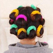 16 pçs estilo de cabelo donuts estilo do cabelo rolo hairdress plástico bendy macio curler espiral cachos rolos diy ferramentas estilo de cabelo