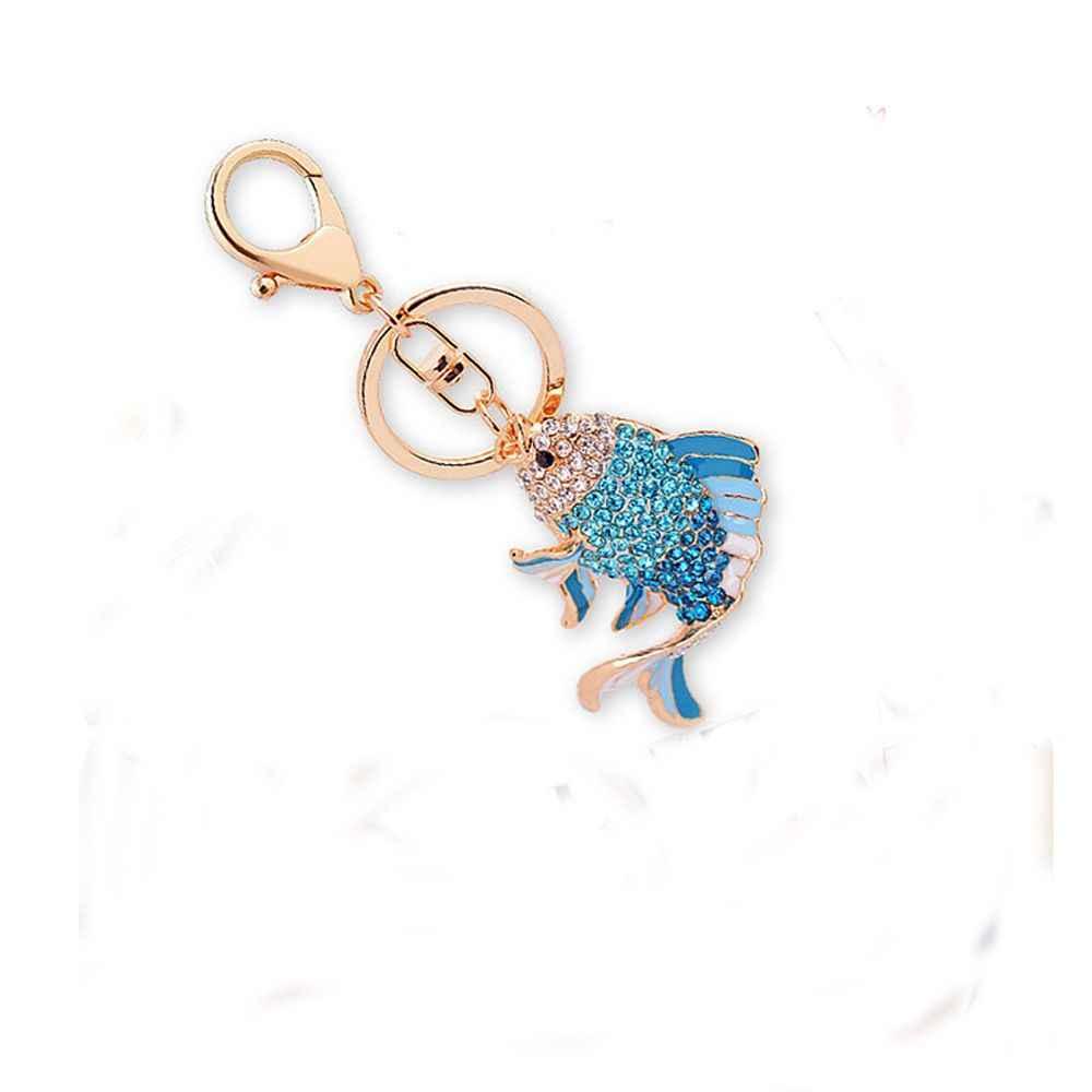 1 шт. забавная, в форме рыбы в форме сердца из сплава со стразами в форме Для женщин брелок для девушек брелок для ключей Сумки из натуральной кожи подвесной орнамент подарок