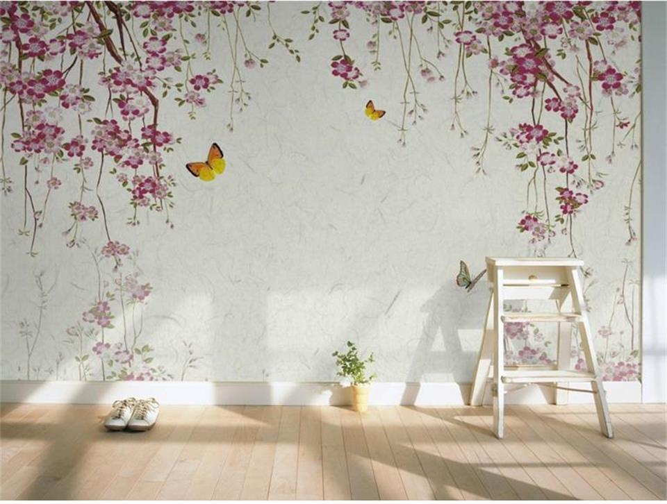 где купить custom size 3d photo wallpaper living room mural retro sakura butterfly 3d painting sofa TV background wallpaper for walls 3d по лучшей цене