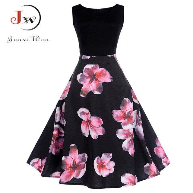 Women Vintage 50s 60s Style Dresses Floral Print Party Dress Black