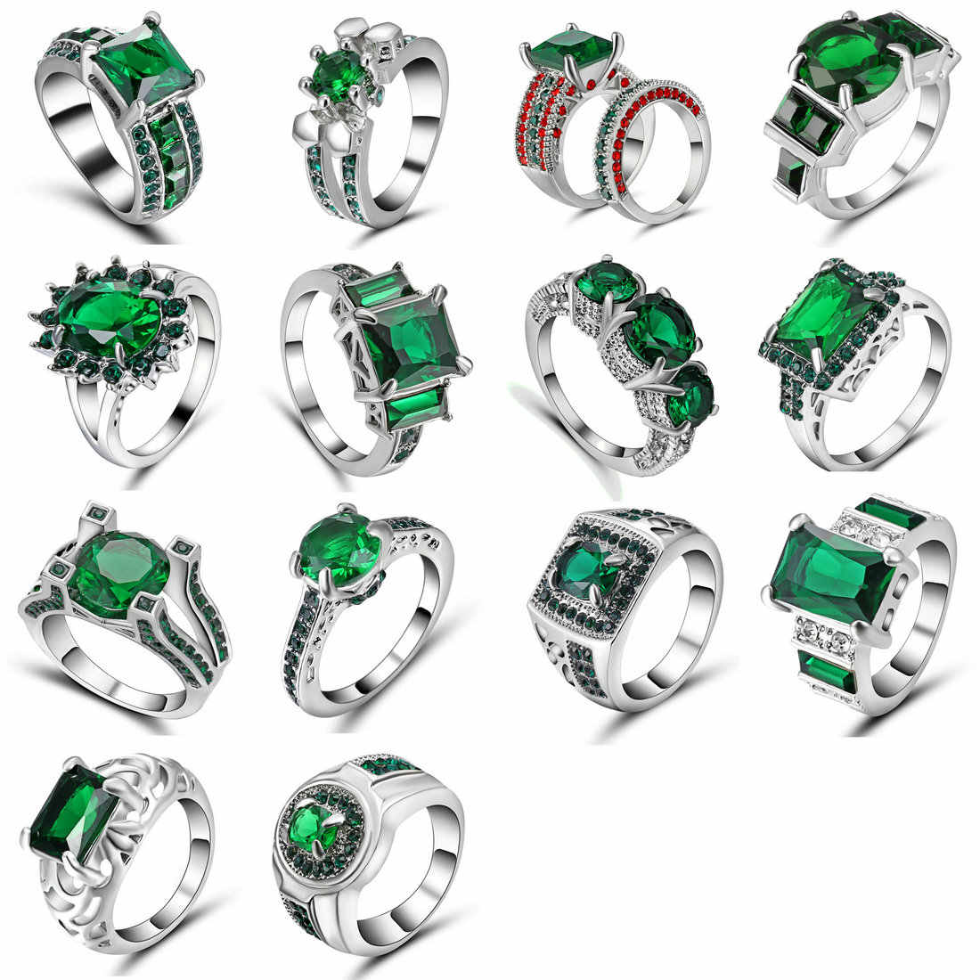 Valentine's Day Gift Womens Silver Plated Wedding Large Colored Ring Green Stones Crystal Zircon Sets Rings Jewelry Size 6